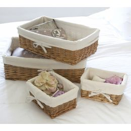 Lined Wicker Baskets - Set of 4