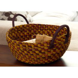 Set of Two Combe Water Hyacinth Wok Baskets