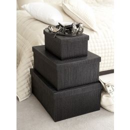 Mendong Grass Black Storage Box