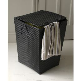 Strapping Black Laundry Basket with Square Lid and Base