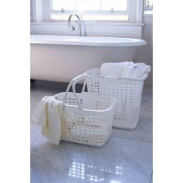 White Plastic Laundry Basket with Handles