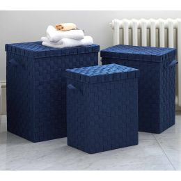 Webbing Slim Laundry Bin with Lid