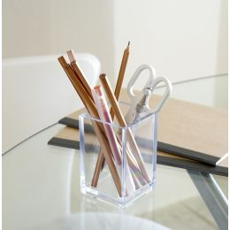 Acrylic Pen Pot Holder with Lid
