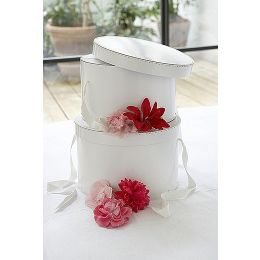 Hat Boxes - Set of 3 White