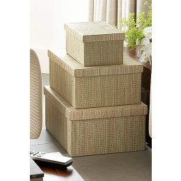 Mendong Natural Storage Boxes - Set of 4