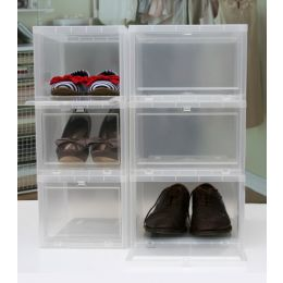 Drop Front Stackable Shoe Storage Box Women