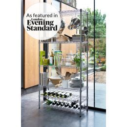 Chrome Kitchen Rack with Wine Shelves