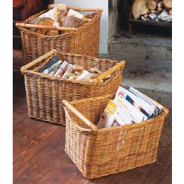 Rattan Baskets With Cane Handles - Set of 3