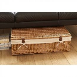 Underbed Storage: Shallow Willow Wicker Underbed Storage Basket With Lid