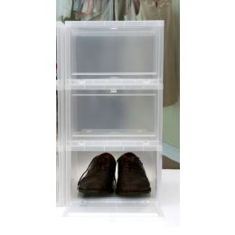 Drop Front Stackable Shoe Storage Box Men