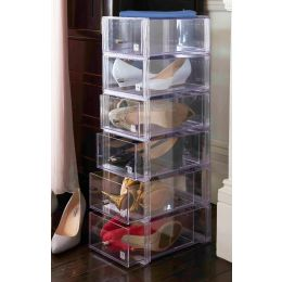 Stackable Shoe Storage Drawer with Chrome Knob | Regular