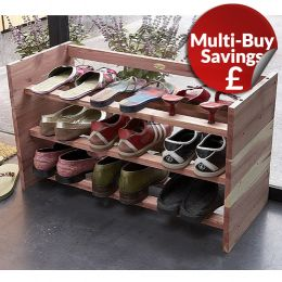 Aromatic Cedar Wooden Stackable Shoe Rack