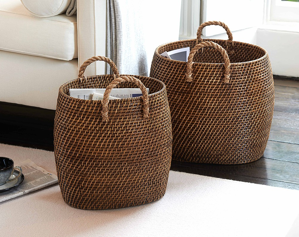 & Cheddar Oval Tapered Basket with Jute Handles | - The Holding Company