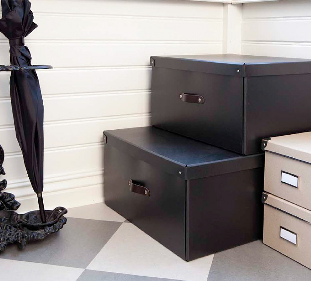 & Black Storage Box With Leather Handle | Bigso - The Holding Company
