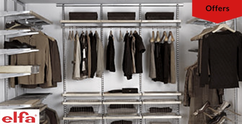 Sales on Elfa Shelving and Storage System