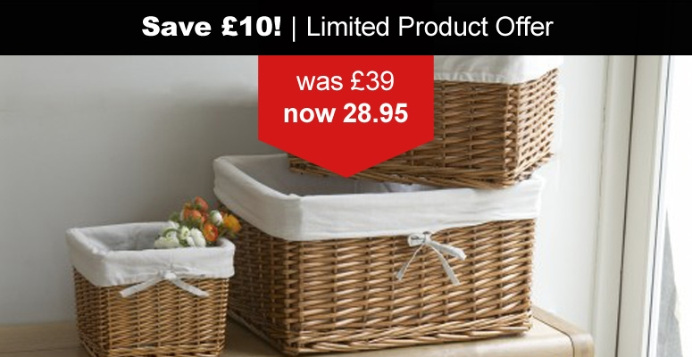 Black Friday Best Deals Lined Rattan Basket