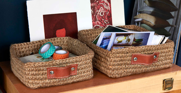 Set of Two Stow Mini Square Jute Basket With Leather Handles